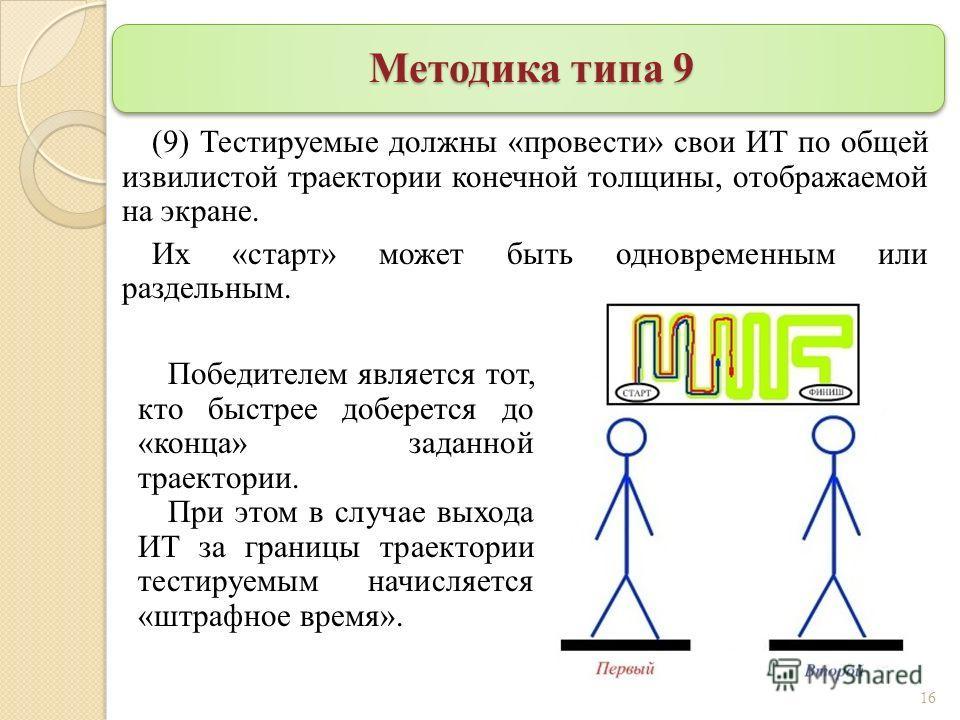 Методика типа 9 (9) Тестируемые должны «провести» свои ИТ по общей извилистой траектории конечной толщины, отображаемой на экране. Их «старт» может быть одновременным или раздельным. 16 Победителем является тот, кто быстрее доберется до «конца» задан