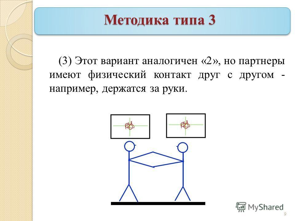 Методика типа 3 (3) Этот вариант аналогичен «2», но партнеры имеют физический контакт друг с другом - например, держатся за руки. 9