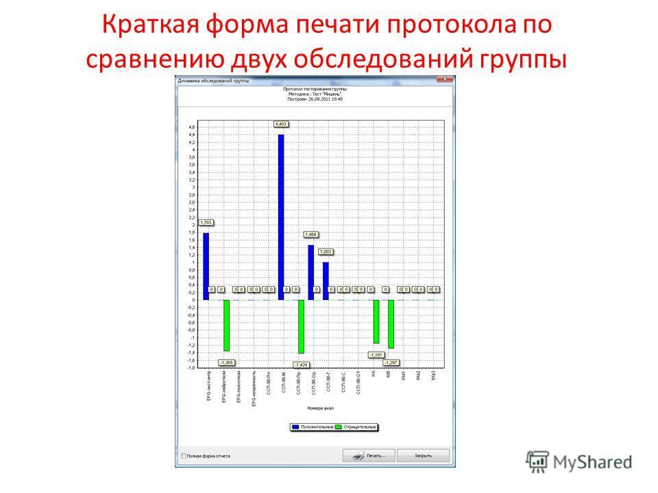 Краткая форма печати протокола по сравнению двух обследований группы