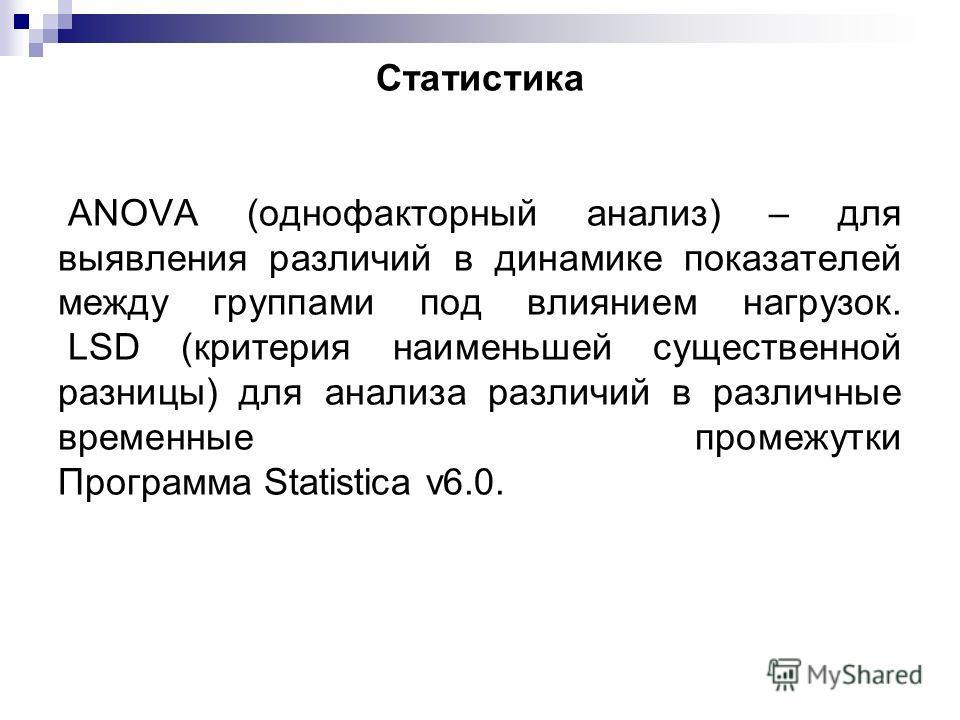 Статистика ANOVA (однофакторный анализ) – для выявления различий в динамике показателей между группами под влиянием нагрузок. LSD (критерия наименьшей существенной разницы) для анализа различий в различные временные промежутки Программа Statistica v6