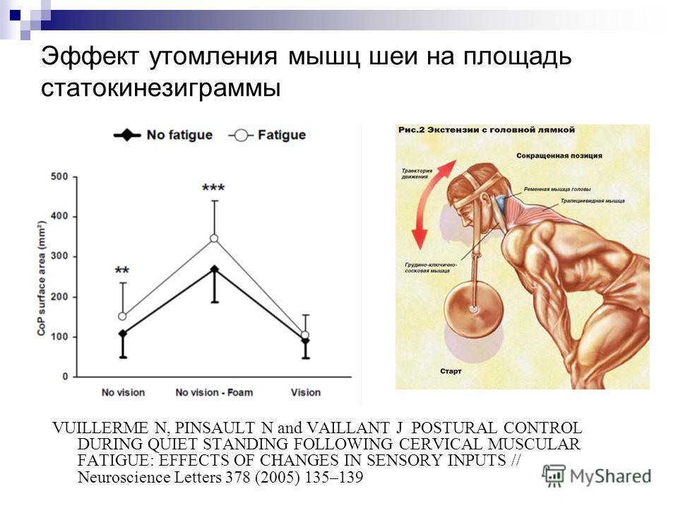 Эффект утомления мышц шеи на площадь статокинезиграммы VUILLERME N, PINSAULT N and VAILLANT J POSTURAL CONTROL DURING QUIET STANDING FOLLOWING CERVICAL MUSCULAR FATIGUE: EFFECTS OF CHANGES IN SENSORY INPUTS // Neuroscience Letters 378 (2005) 135–139