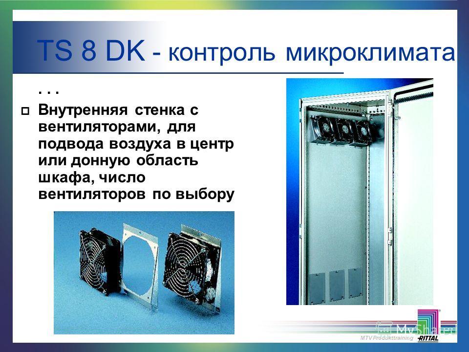 MTV Produkttraining... p Внутренняя стенка с вентиляторами, для подвода воздуха в центр или донную область шкафа, число вентиляторов по выбору TS 8 DK - контроль микроклимата