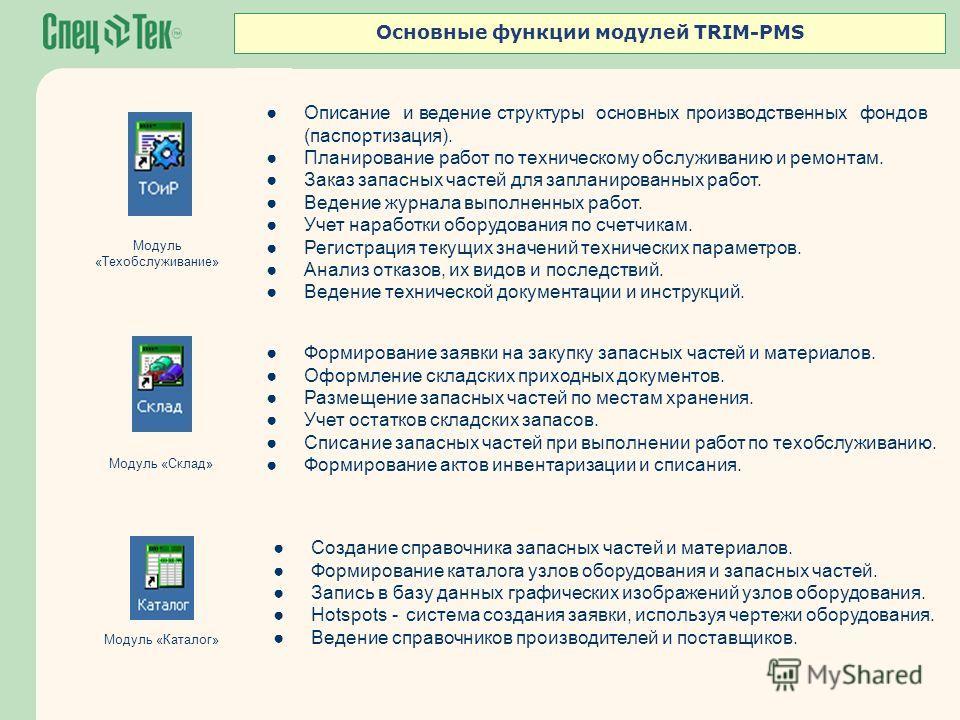 Основные функции модулей TRIM-PMS Описание и ведение структуры основных производственных фондов (паспортизация). Планирование работ по техническому обслуживанию и ремонтам. Заказ запасных частей для запланированных работ. Ведение журнала выполненных