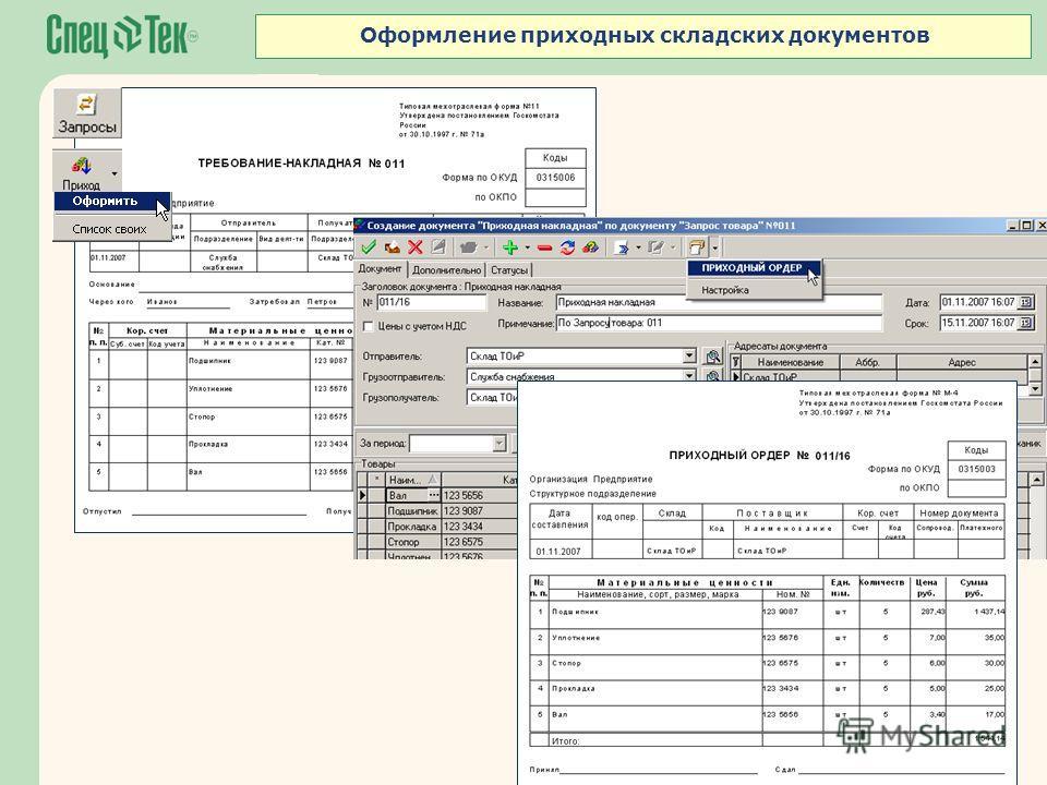Оформление приходных складских документов