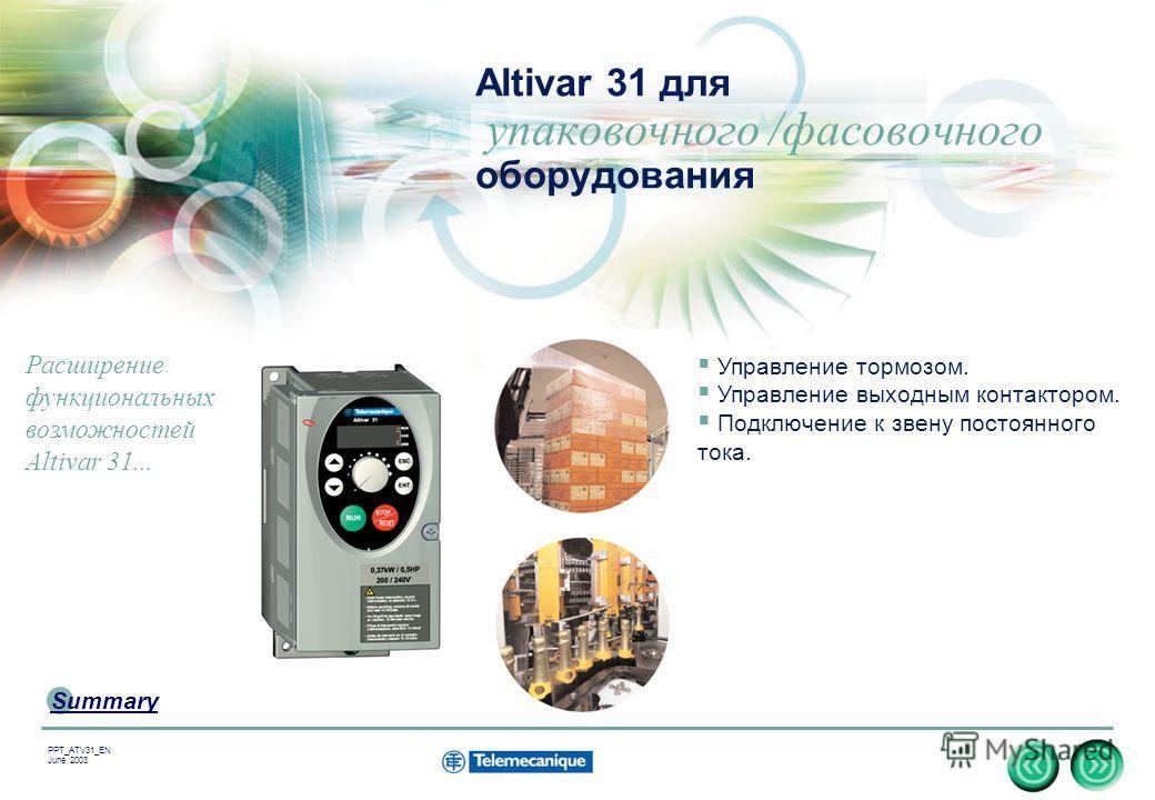 17 Summary PPT_ATV31_EN June 2003 Altivar 31 для упаковочного /фасовочного оборудования Управление тормозом. Управление выходным контактором. Подключение к звену постоянного тока. Расширение функциональных возможностей Altivar 31...