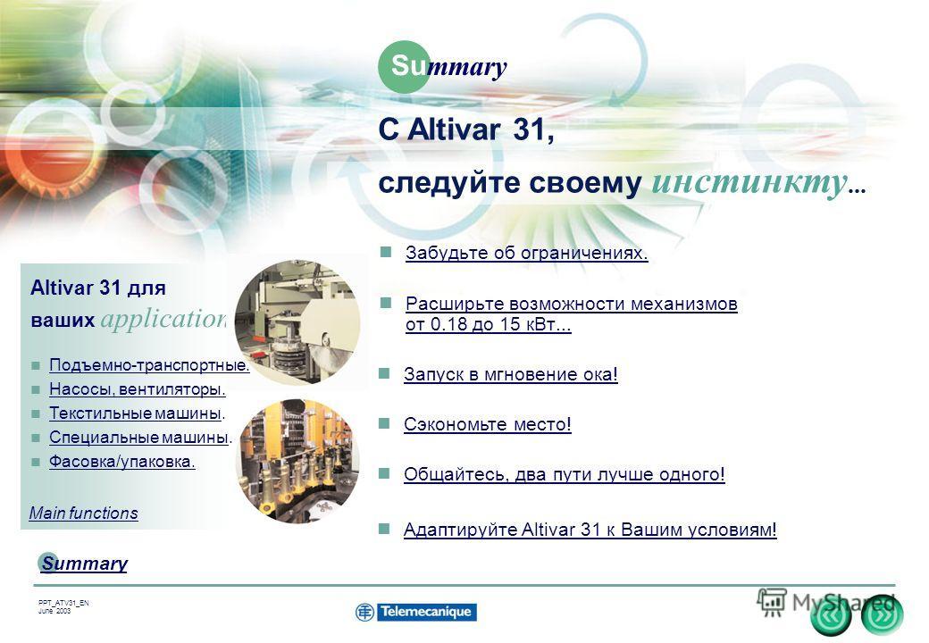 3 Summary PPT_ATV31_EN June 2003 Забудьте об ограничениях. Расширьте возможности механизмов от 0.18 до 15 кВт... Расширьте возможности механизмов от 0.18 до 15 кВт... Altivar 31 для ваших applications... Запуск в мгновение ока! Сэкономьте место! Обща