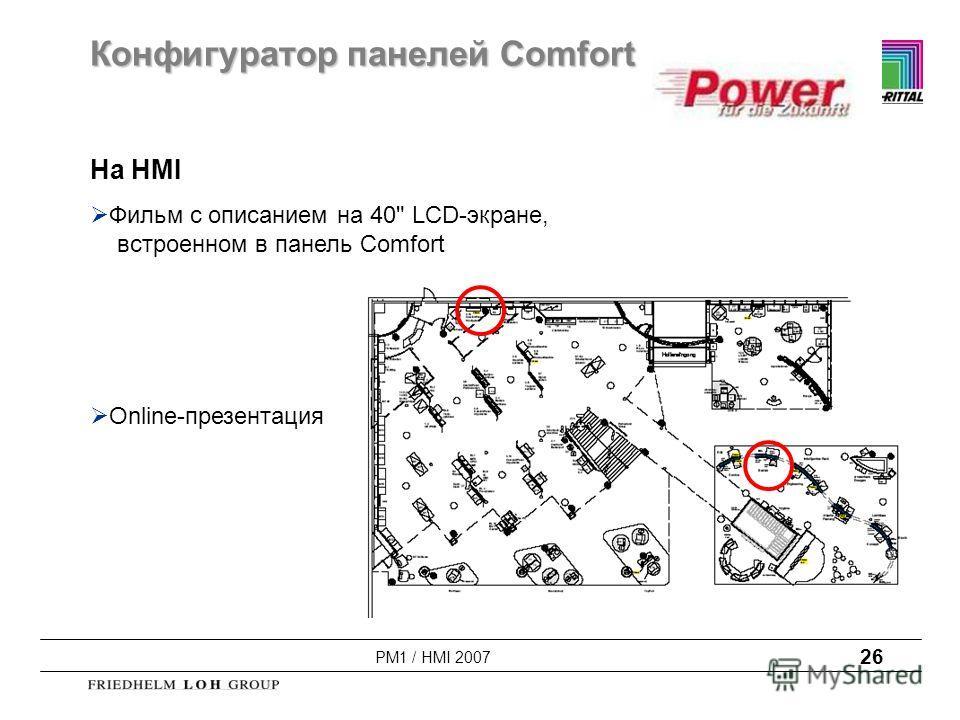 PM1 / HMI 2007 26 На HMI Фильм с описанием на 40 LCD-экране, встроенном в панель Comfort Оnline-презентация Конфигуратор панелей Comfort
