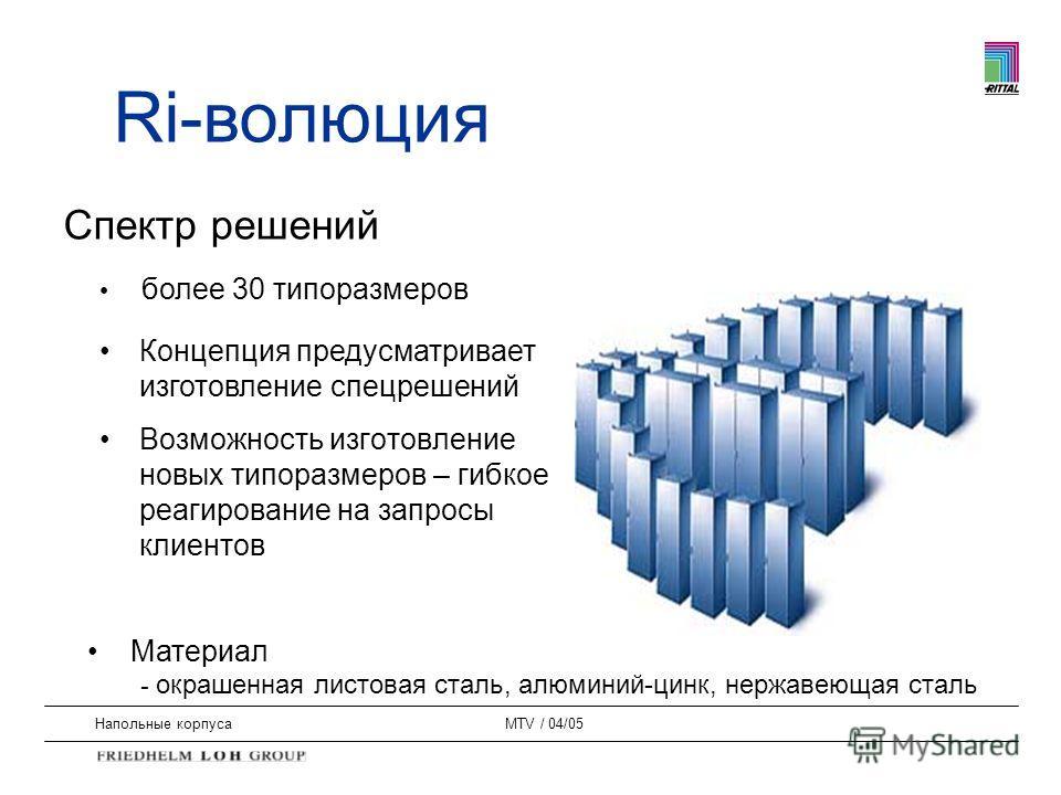 Напольные корпусаMTV / 04/05 Концепция предусматривает изготовление спецрешений Возможность изготовление новых типоразмеров – гибкое реагирование на запросы клиентов Спектр решений более 30 типоразмеров Материал - окрашенная листовая сталь, алюминий-