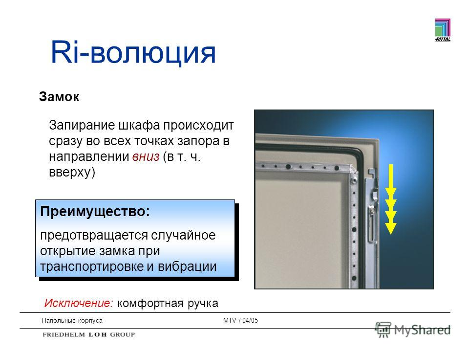 Напольные корпусаMTV / 04/05 Замок Запирание шкафа происходит сразу во всех точках запора в направлении вниз (в т. ч. вверху) Преимущество: предотвращается случайное открытие замка при транспортировке и вибрации Преимущество: предотвращается случайно