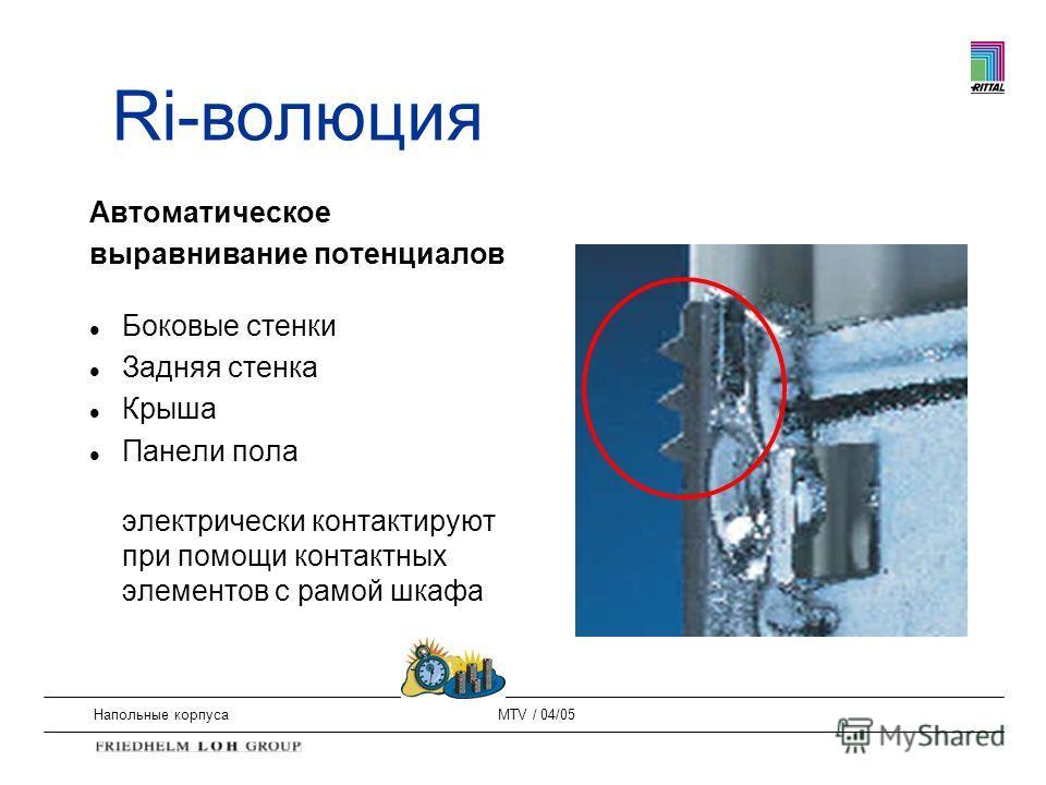 Напольные корпусаMTV / 04/05 Автоматическое выравнивание потенциалов l Боковые стенки l Задняя стенка l Крыша l Панели пола электрически контактируют при помощи контактных элементов с рамой шкафа Ri-волюция
