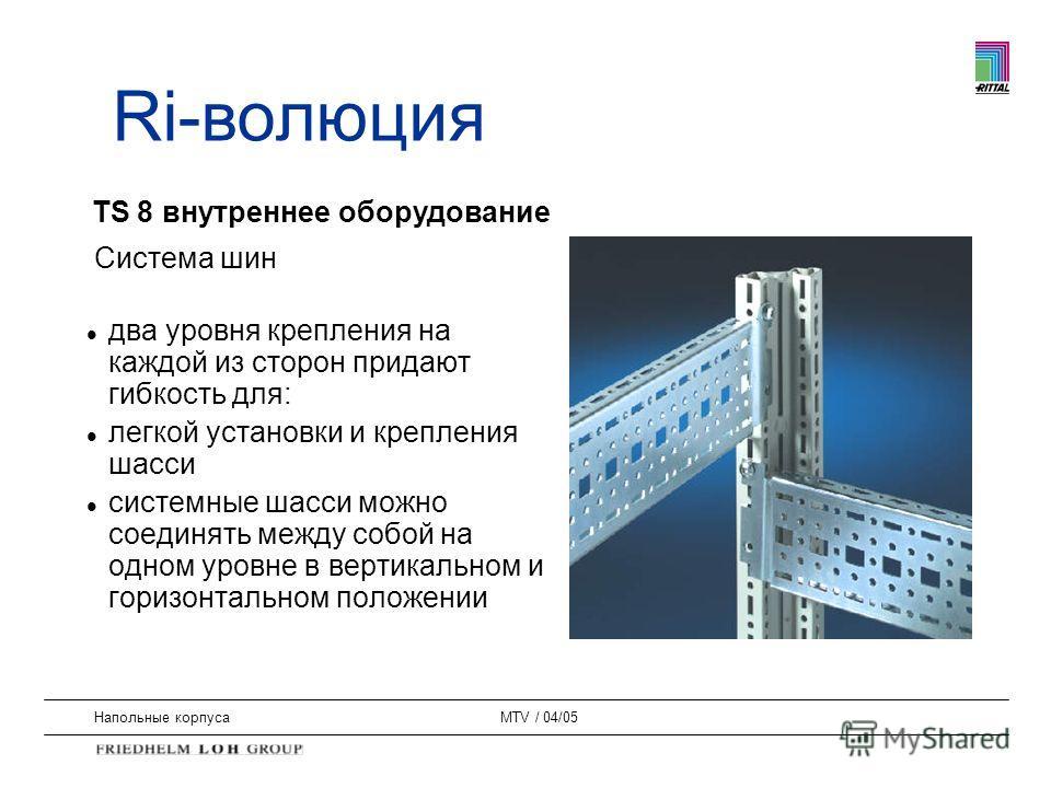 Напольные корпусаMTV / 04/05 Система шин l два уровня крепления на каждой из сторон придают гибкость для: l легкой установки и крепления шасси l системные шасси можно соединять между собой на одном уровне в вертикальном и горизонтальном положении TS