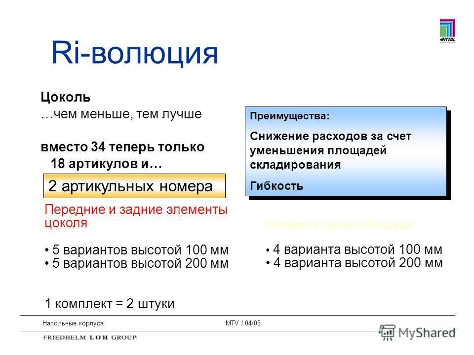 Напольные корпусаMTV / 04/05 Цоколь …чем меньше, тем лучше вместо 34 теперь только 18 артикулов и… Преимущества: Снижение расходов за счет уменьшения площадей складирования Гибкость Преимущества: Снижение расходов за счет уменьшения площадей складиро
