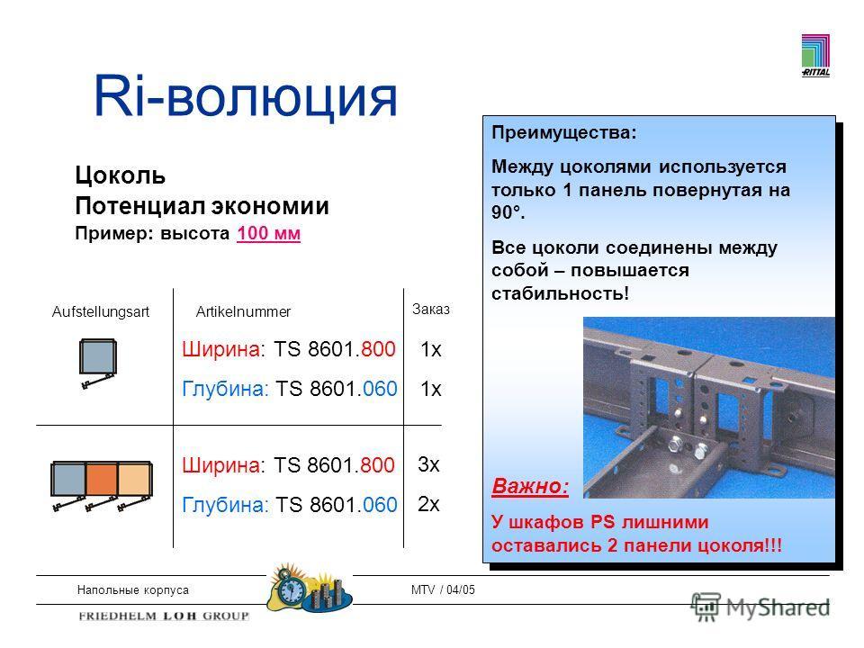 Напольные корпусаMTV / 04/05 Цоколь Потенциал экономии Пример: высота 100 мм AufstellungsartArtikelnummer Заказ Ширина: TS 8601.800 Глубина: TS 8601.060 Ширина: TS 8601.800 Глубина: TS 8601.060 1x 3x 2x Преимущества: Между цоколями используется тольк