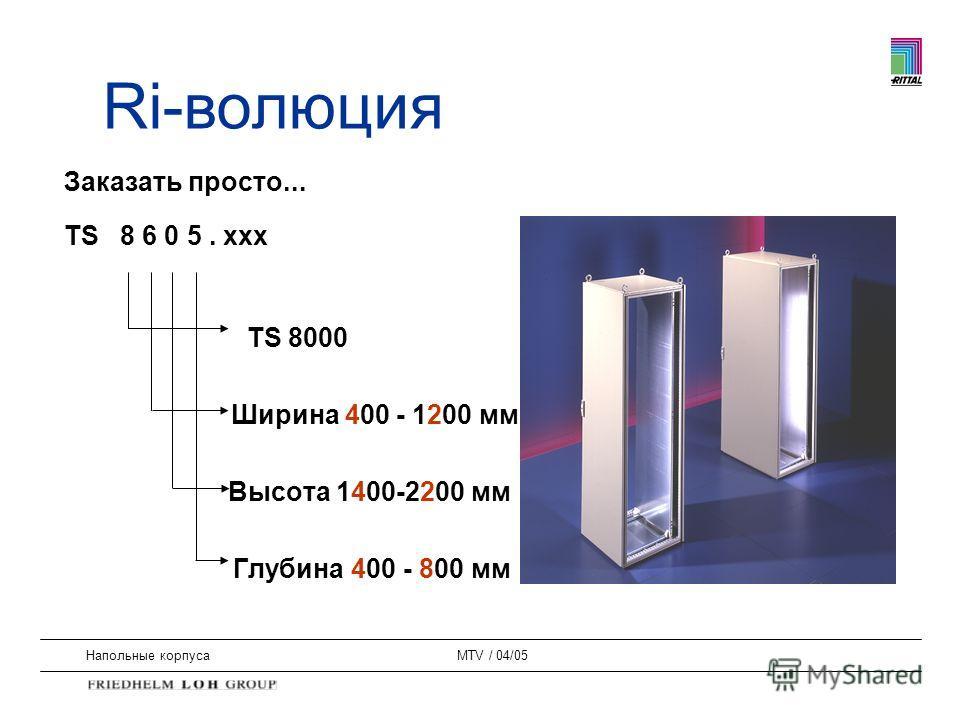 Напольные корпусаMTV / 04/05 Заказать просто... TS 8 6 0 5. xxx TS 8000 Ширина 400 - 1200 мм Высота 1400-2200 мм Глубина 400 - 800 мм Ri-волюция