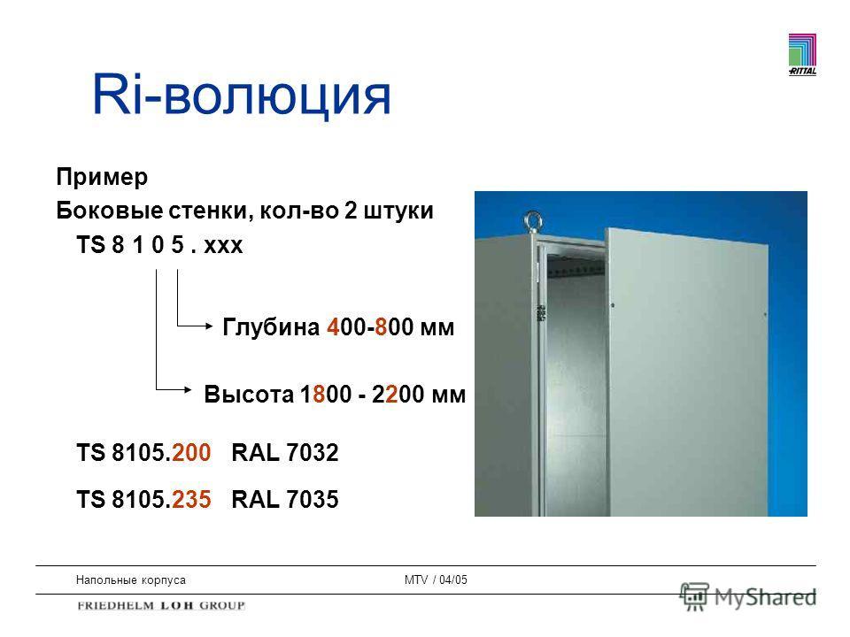 Напольные корпусаMTV / 04/05 Пример Боковые стенки, кол-во 2 штуки TS 8 1 0 5. xxx Глубина 400-800 мм Высота 1800 - 2200 мм TS 8105.200 RAL 7032 TS 8105.235 RAL 7035 Ri-волюция