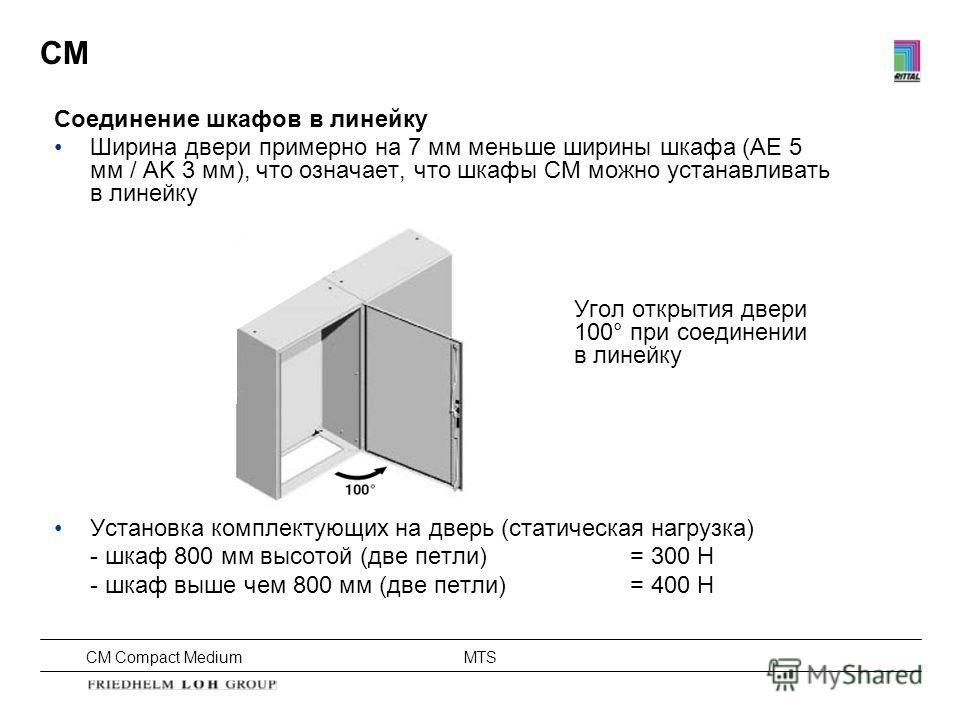 CM Compact Medium MTS CM Соединение шкафов в линейку Ширина двери примерно на 7 мм меньше ширины шкафа (AE 5 мм / AK 3 мм), что означает, что шкафы CM можно устанавливать в линейку Угол открытия двери 100° при соединении в линейку Установка комплекту