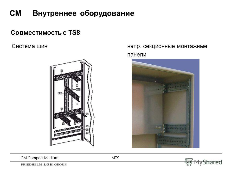 CM Compact Medium MTS Система шиннапр. секционные монтажные панели Совместимость с TS8 CMВнутреннее оборудование