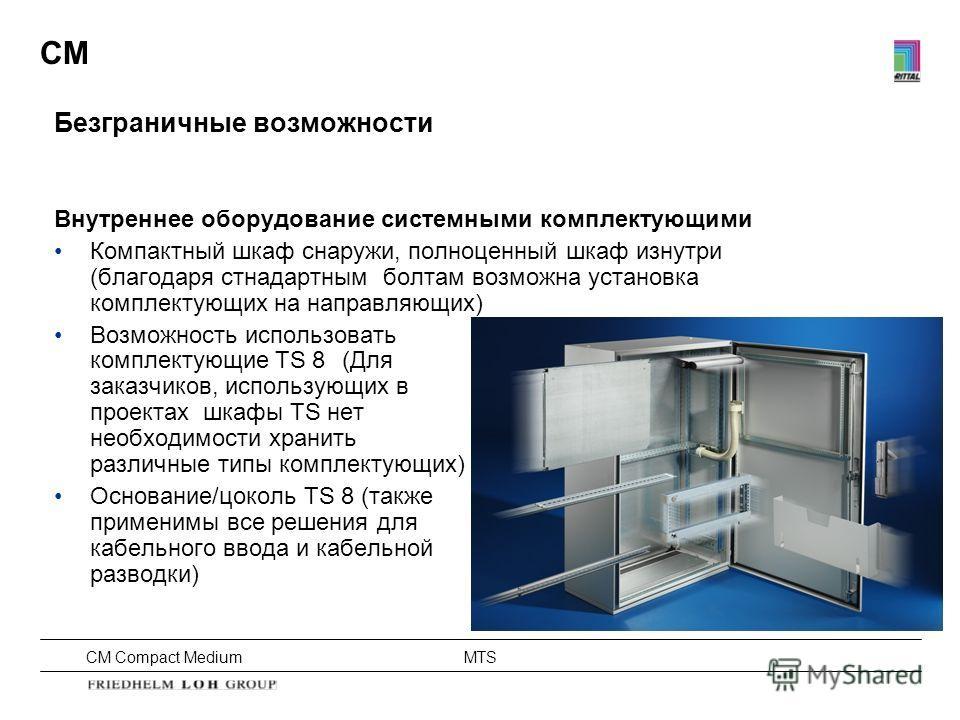 CM Compact Medium MTS CM Безграничные возможности Внутреннее оборудование системными комплектующими Компактный шкаф снаружи, полноценный шкаф изнутри (благодаря стнадартным болтам возможна установка комплектующих на направляющих) Возможность использо