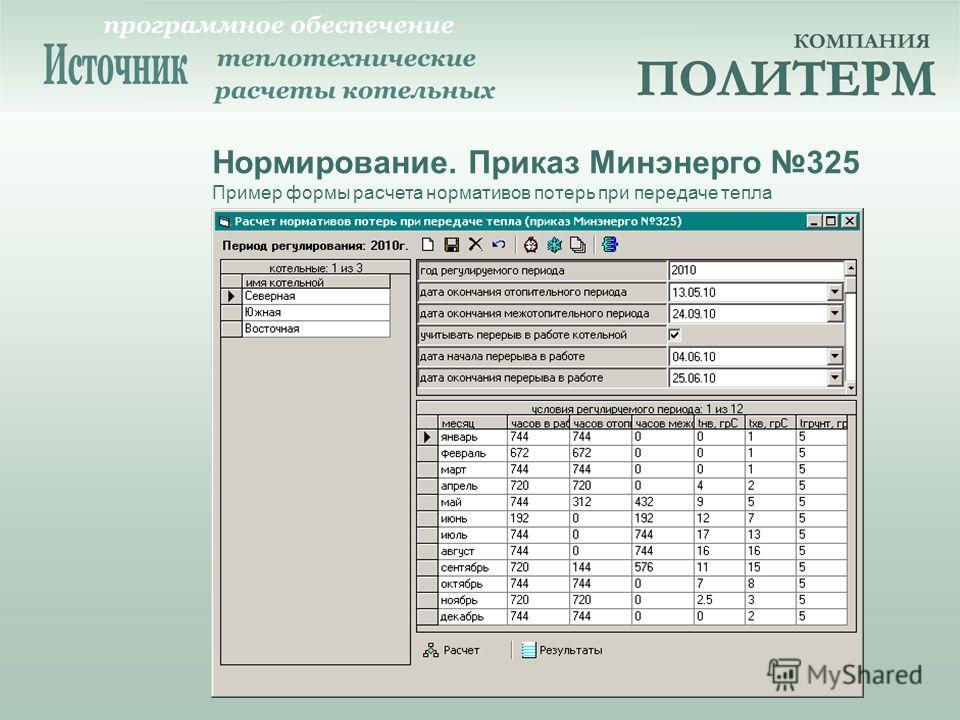 Нормирование. Приказ Минэнерго 325 Пример формы расчета нормативов потерь при передаче тепла