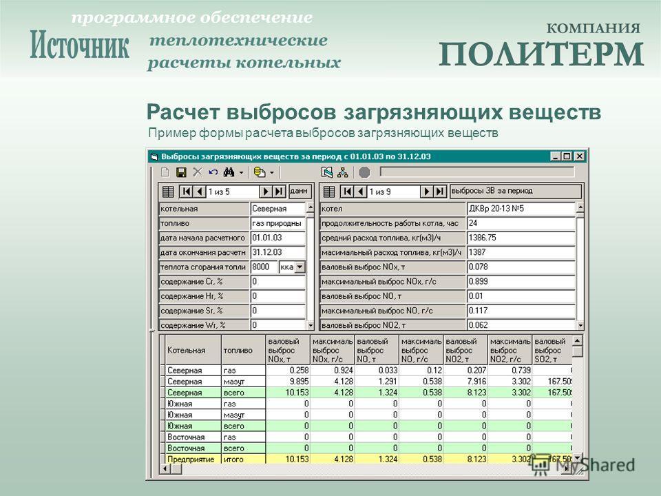 Расчет выбросов загрязняющих веществ Пример формы расчета выбросов загрязняющих веществ