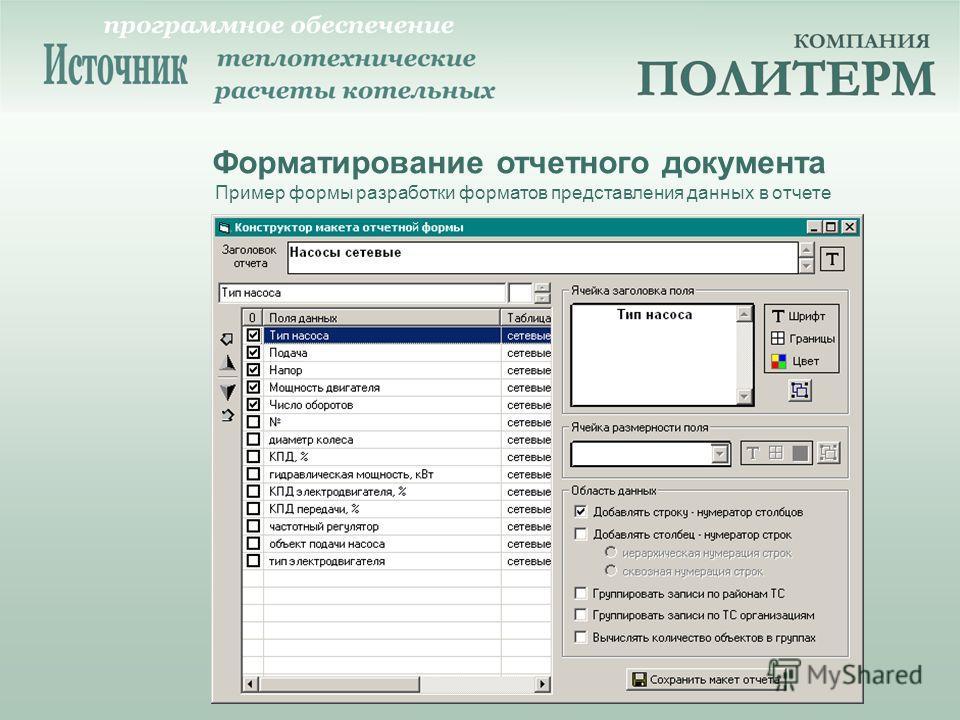 Форматирование отчетного документа Пример формы разработки форматов представления данных в отчете