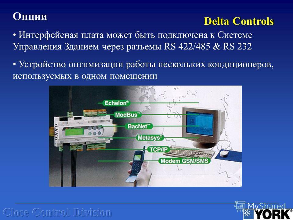 Опции Интерфейсная плата может быть подключена к Системе Управления Зданием через разъемы RS 422/485 & RS 232 Устройство оптимизации работы нескольких кондиционеров, используемых в одном помещении Delta Controls