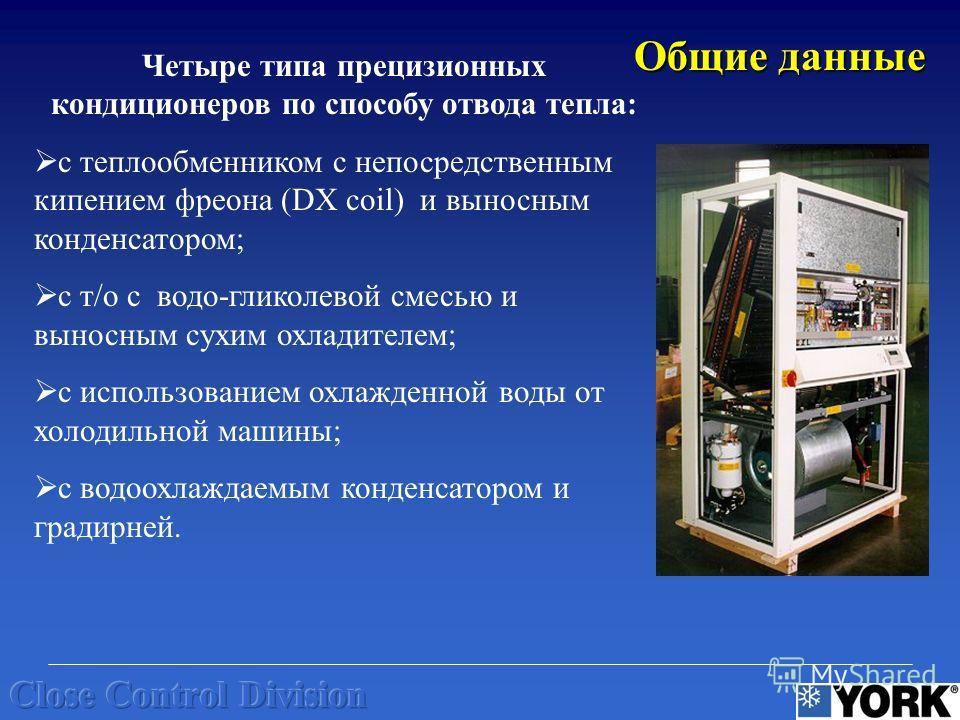 Четыре типа прецизионных кондиционеров по способу отвода тепла: с теплообменником с непосредственным кипением фреона (DX coil) и выносным конденсатором; с т/о с водо-гликолевой смесью и выносным сухим охладителем; с использованием охлажденной воды от