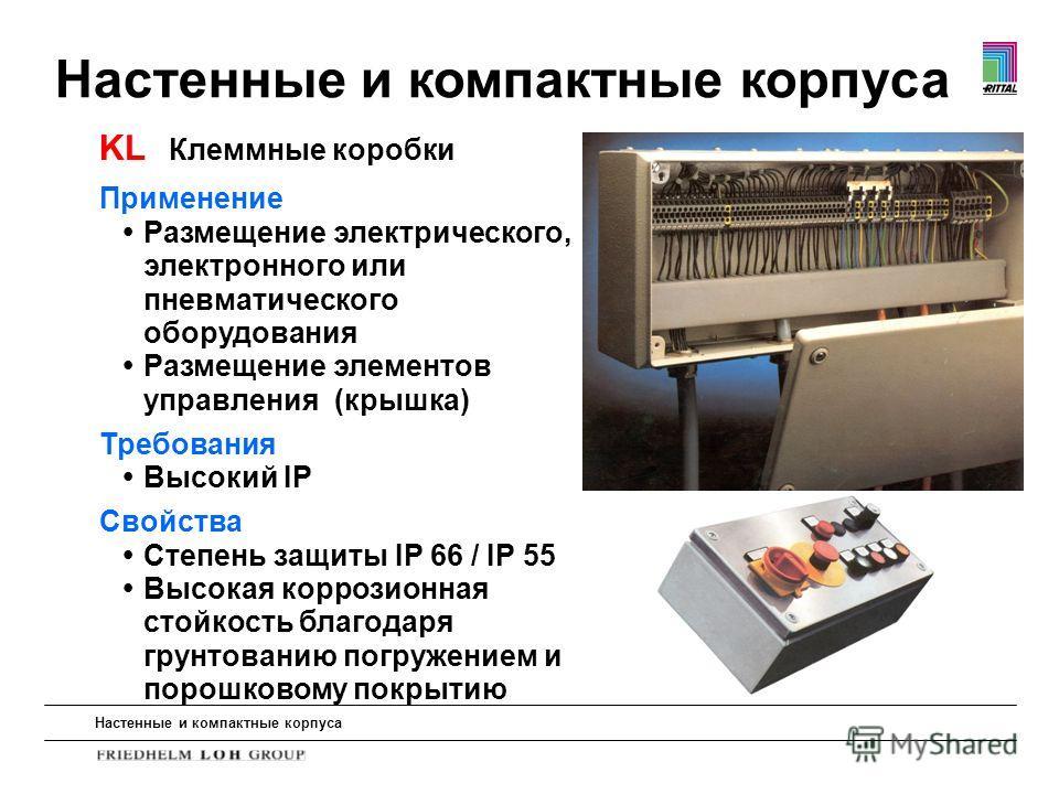 Настенные и компактные корпуса Применение Размещение электрического, электронного или пневматического оборудования Размещение элементов управления (крышка) Требования Высокий IP Свойства Степень защиты IP 66 / IP 55 Высокая коррозионная стойкость бла