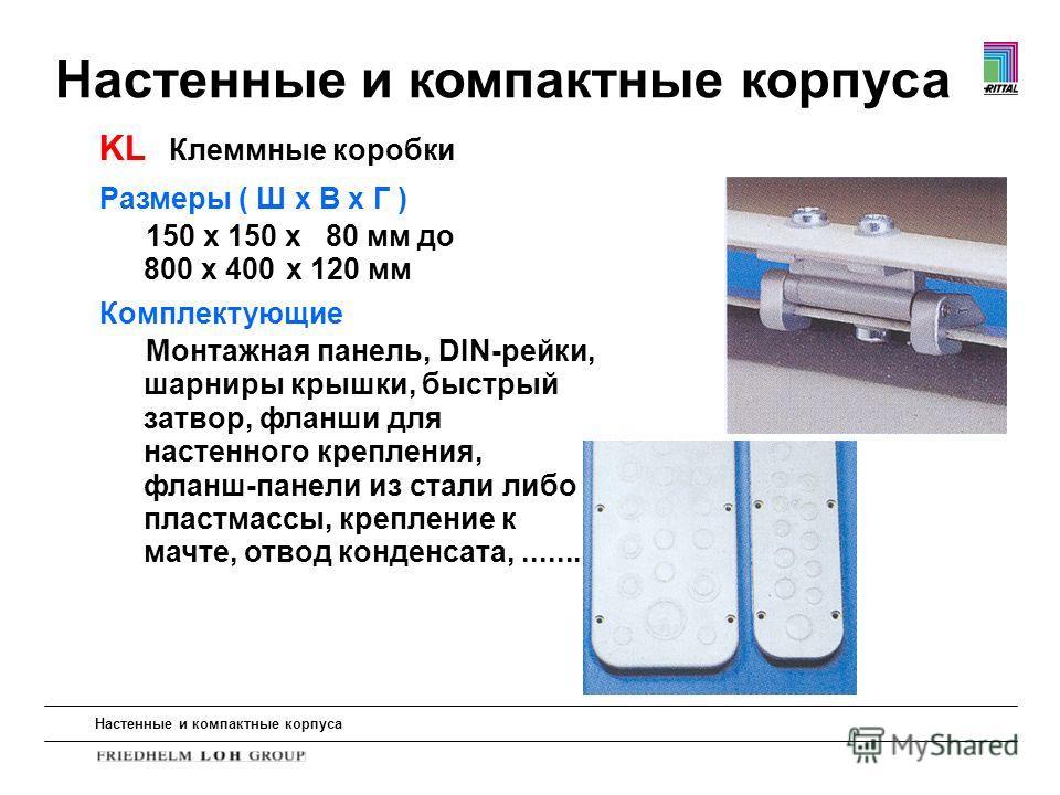 Настенные и компактные корпуса Размеры ( Ш x В x Г ) 150 x 150 x 80 мм до 800 x 400 x 120 мм Комплектующие Монтажная панель, DIN-рейки, шарниры крышки, быстрый затвор, фланши для настенного крепления, фланш-панели из стали либо пластмассы, крепление