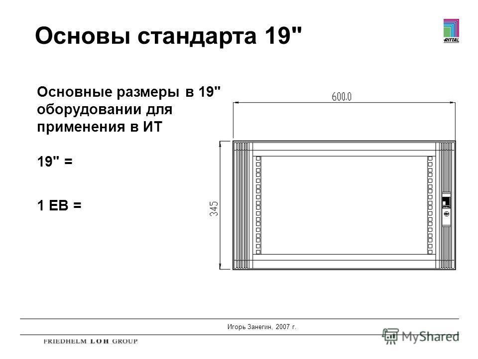 Игорь Занегин, 2007 г. Основы стандарта 19 Основные размеры в 19 оборудовании для применения в ИТ 19 = 1 ЕВ =