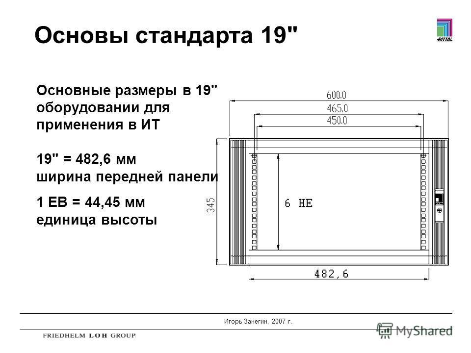 Игорь Занегин, 2007 г. Основы стандарта 19 Основные размеры в 19 оборудовании для применения в ИТ 19 = 482,6 мм ширина передней панели 1 ЕВ = 44,45 мм единица высоты