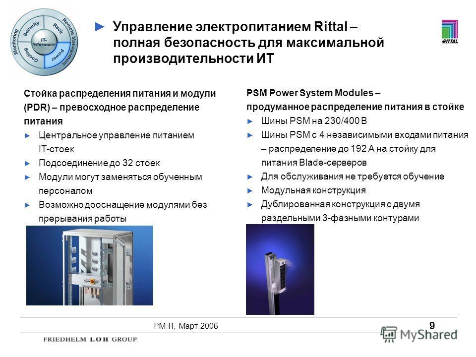 PM-IT, Март 2006 9 Стойка распределения питания и модули (PDR) – превосходное распределение питания Центральное управление питанием IT-стоек Подсоединение до 32 стоек Модули могут заменяться обученным персоналом Возможно дооснащение модулями без прер