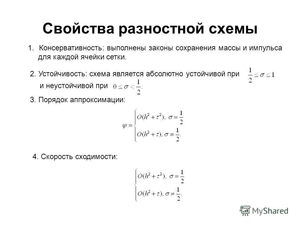 Свойства разностной схемы 1.Консервативность: выполнены законы сохранения массы и импульса для каждой ячейки сетки. 2. Устойчивость: схема является абсолютно устойчивой при и неустойчивой при 3. Порядок аппроксимации: 4. Скорость сходимости: