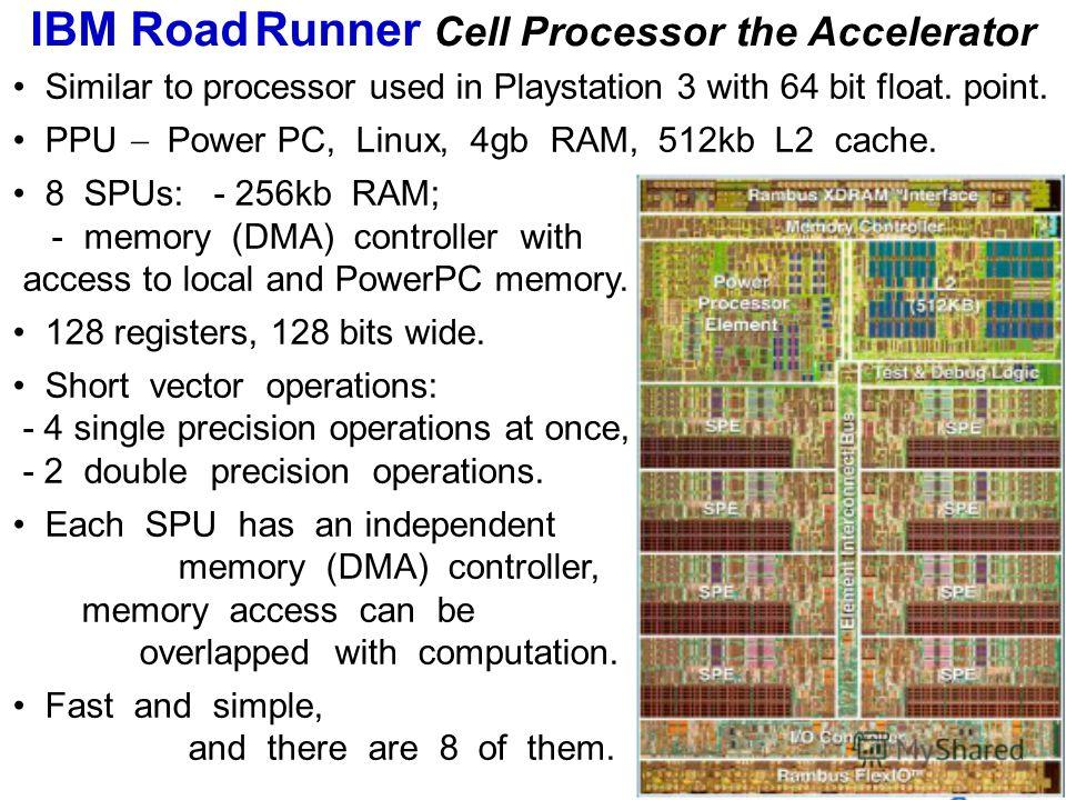 Similar to processor used in Playstation 3 with 64 bit float. point. PPU Power PC, Linux, 4gb RAM, 512kb L2 cache. 8 SPUs: - 256kb RAM; - memory (DMA) controller with access to local and PowerPC memory. 128 registers, 128 bits wide. Short vector oper
