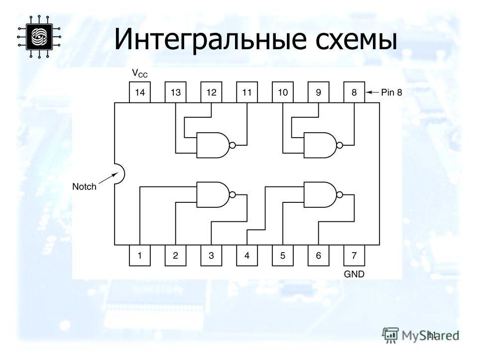 11 Интегральные схемы An SSI chip containing four gates.