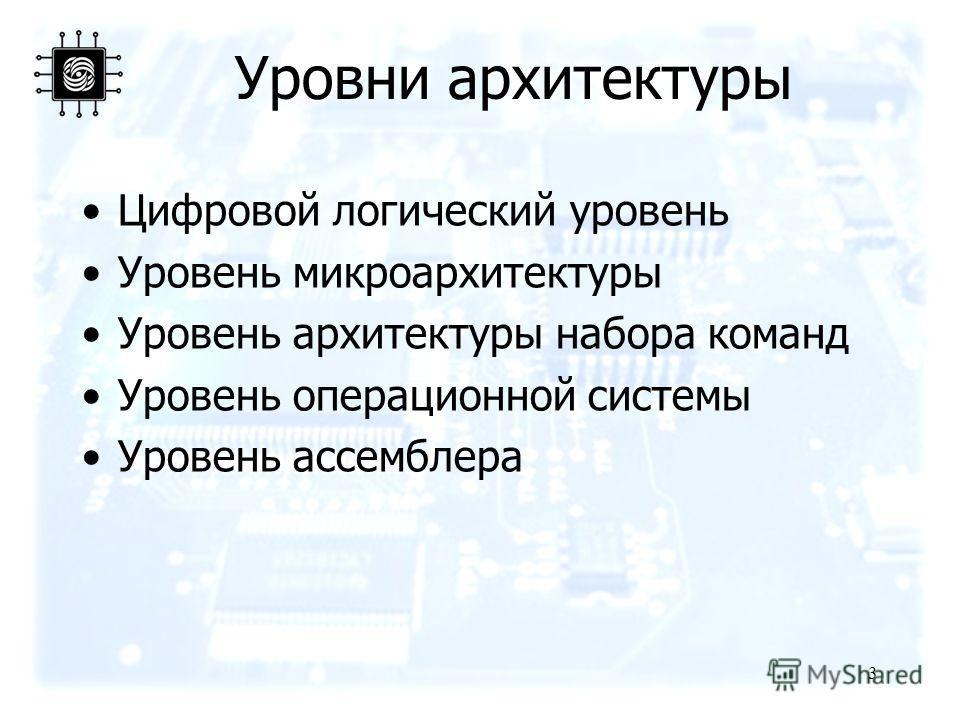 3 Уровни архитектуры Цифровой логический уровень Уровень микроархитектуры Уровень архитектуры набора команд Уровень операционной системы Уровень ассемблера
