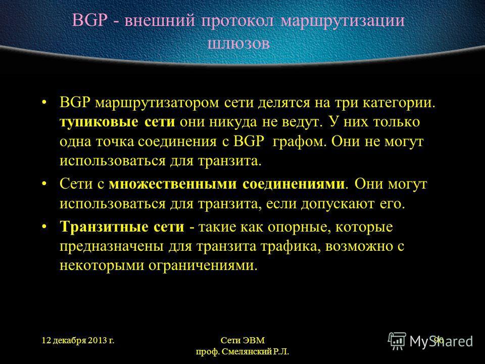 12 декабря 2013 г.Сети ЭВМ проф. Смелянский Р.Л. 90 BGP - внешний протокол маршрутизации шлюзов BGP маршрутизатором сети делятся на три категории. тупиковые сети они никуда не ведут. У них только одна точка соединения с BGP графом. Они не могут испол