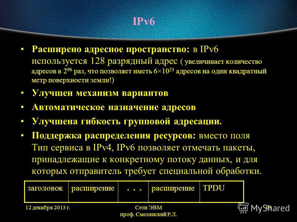12 декабря 2013 г.Сети ЭВМ проф. Смелянский Р.Л. 93 IPv6 Расширено адресное пространство: в IPv6 используется 128 разрядный адрес ( увеличивает количество адресов в 2 96 раз, что позволяет иметь 6×10 23 адресов на один квадратный метр поверхности зем