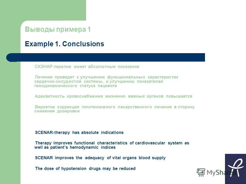 Выводы примера 1 Example 1. Conclusions СКЭНАР-терапия имеет абсолютные показания Лечение приведет к улучшению функциональных характеристик сердечно-сосудистой системы, и улучшению показателей гемодинамического статуса пациента Адекватность кровоснаб