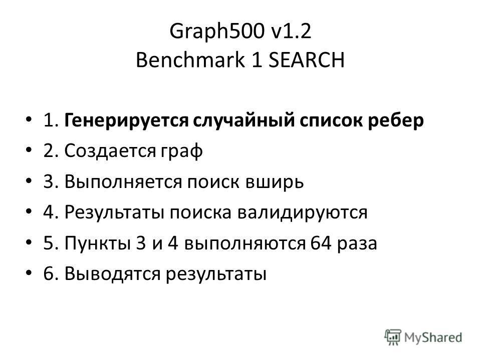 Graph500 v1.2 Benchmark 1 SEARCH 1. Генерируется случайный список ребер 2. Создается граф 3. Выполняется поиск вширь 4. Результаты поиска валидируются 5. Пункты 3 и 4 выполняются 64 раза 6. Выводятся результаты