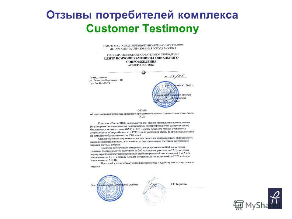 Отзывы потребителей комплекса Customer Testimony