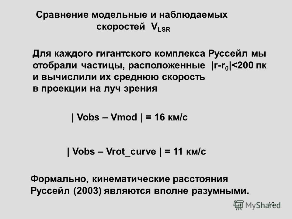 10 Сравнение модельные и наблюдаемых скоростей V LSR | Vobs – Vmod | = 16 км/с | Vobs – Vrot_curve | = 11 км/с Формально, кинематические расстояния Руссейл (2003) являются вполне разумными. Для каждого гигантского комплекса Руссейл мы отобрали частиц
