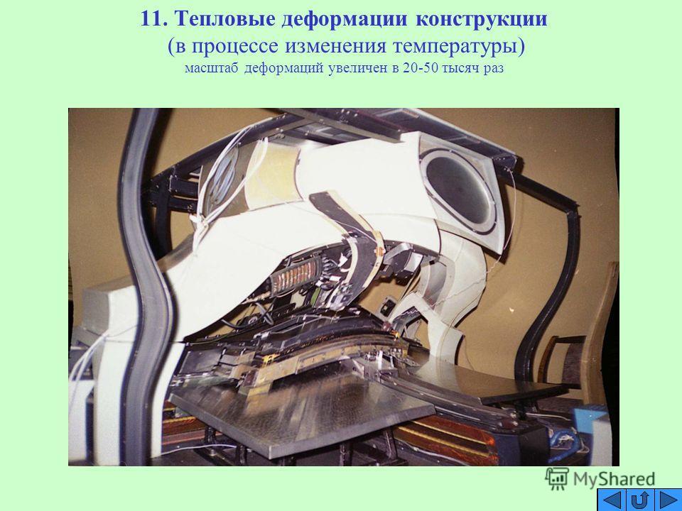 11. Тепловые деформации конструкции (в процессе изменения температуры) масштаб деформаций увеличен в 20-50 тысяч раз