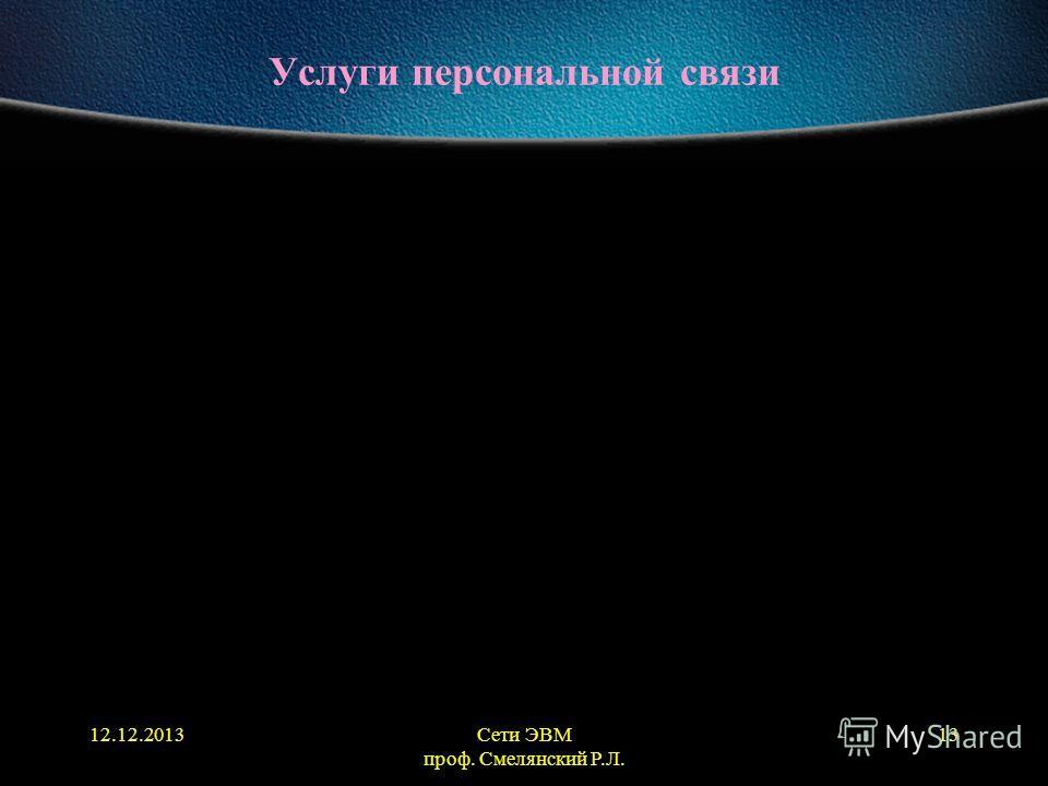12.12.2013Сети ЭВМ проф. Смелянский Р.Л. 13 Услуги персональной связи