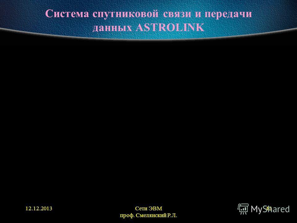 12.12.2013Сети ЭВМ проф. Смелянский Р.Л. 42 Система спутниковой связи и передачи данных ASTROLINK