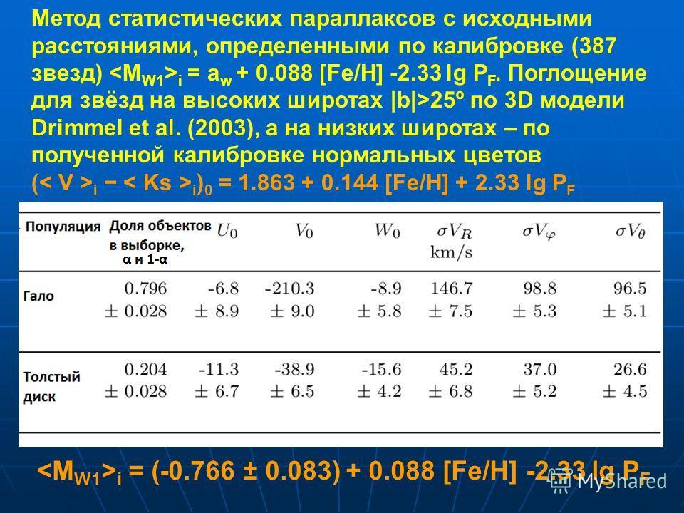 Метод статистических параллаксов с исходными расстояниями, определенными по калибровке (387 звезд) i = a w + 0.088 [Fe/H] -2.33 lg P F. Поглощение для звёзд на высоких широтах |b|>25º по 3D модели Drimmel et al. (2003), а на низких широтах – по получ