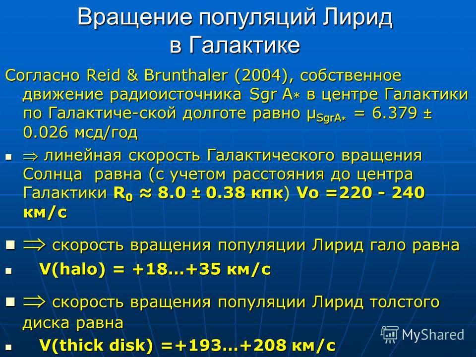 Вращение популяций Лирид в Галактике Согласно Reid & Brunthaler (2004), собственное движение радиоисточника Sgr A в центре Галактики по Галактиче-ской долготе равно μ SgrA = 6.379 ± 0.026 мсд/год линейная скорость Галактического вращения Солнца равна
