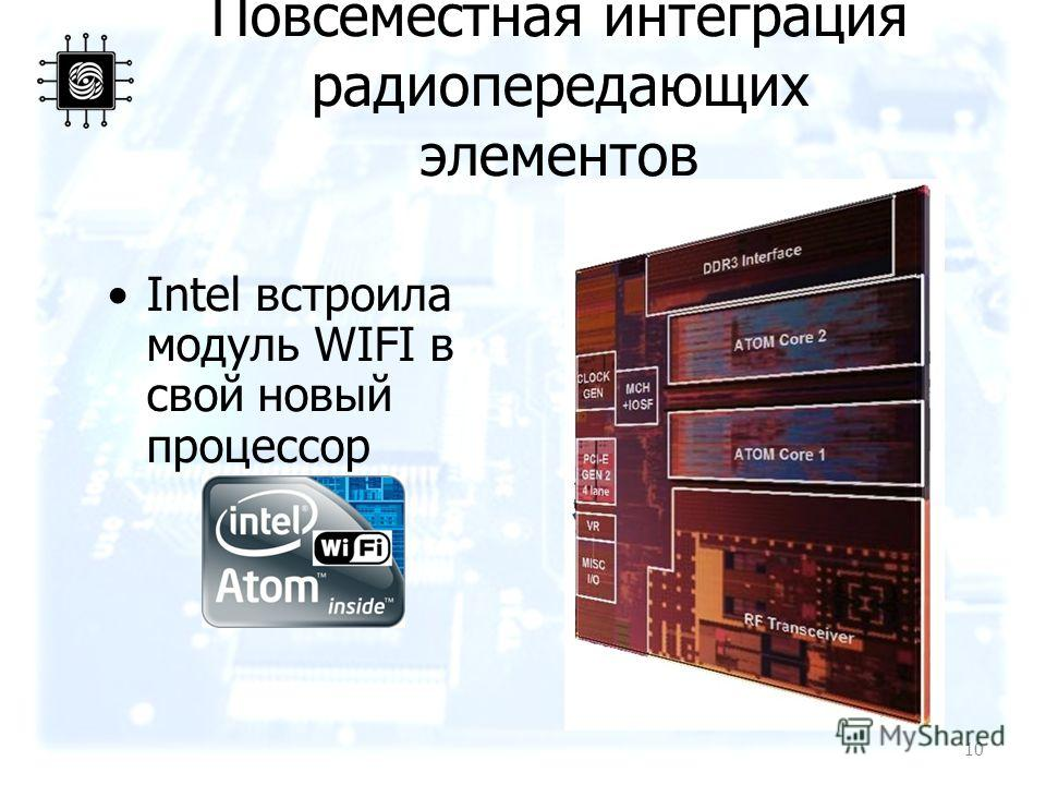 Повсеместная интеграция радиопередающих элементов Intel встроила модуль WIFI в свой новый процессор 10