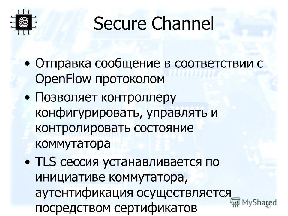 Secure Channel Отправка сообщение в соответствии с OpenFlow протоколом Позволяет контроллеру конфигурировать, управлять и контролировать состояние коммутатора TLS сессия устанавливается по инициативе коммутатора, аутентификация осуществляется посредс