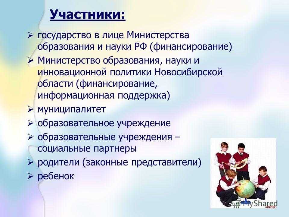 Участники: государство в лице Министерства образования и науки РФ (финансирование) Министерство образования, науки и инновационной политики Новосибирской области (финансирование, информационная поддержка) муниципалитет образовательное учреждение обра